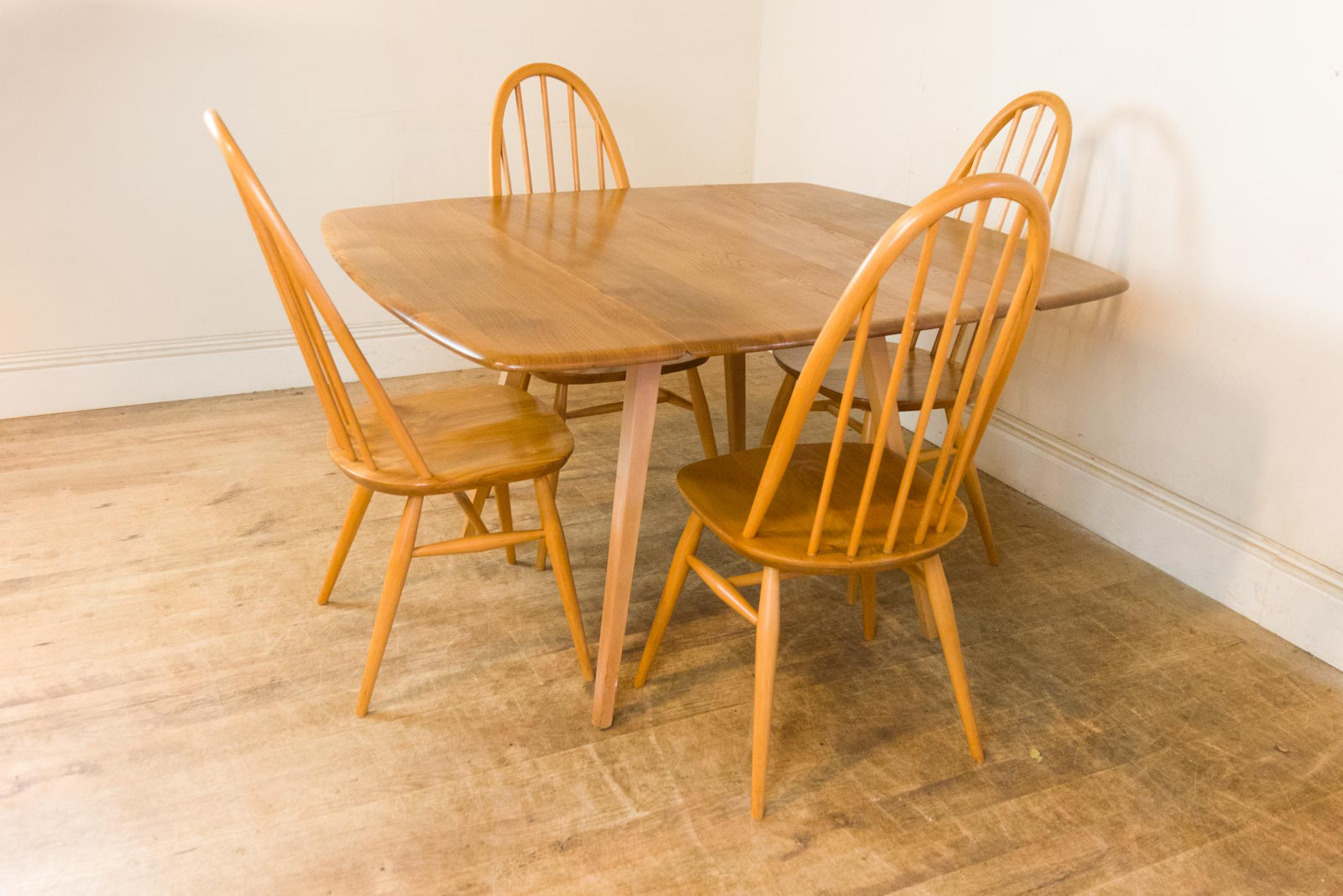 Vintage Retro Ercol Light Elm Drop Leaf Dining Table And 4