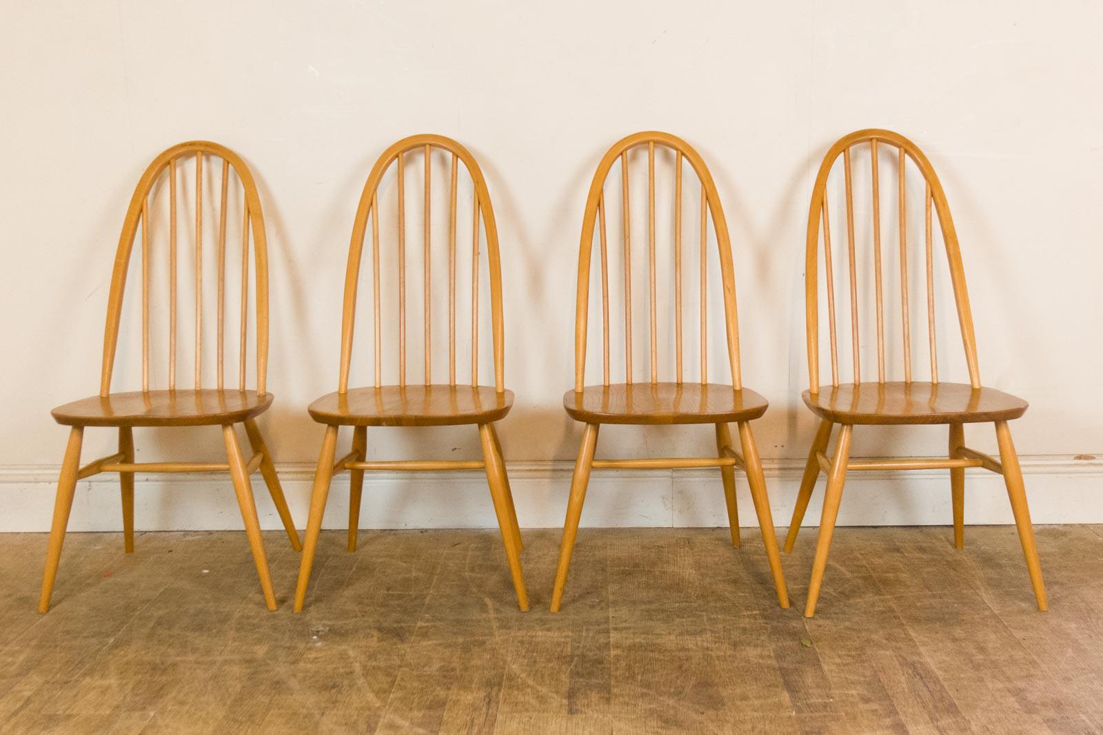 vintage retro ercol light elm drop leaf dining table and 4. Black Bedroom Furniture Sets. Home Design Ideas
