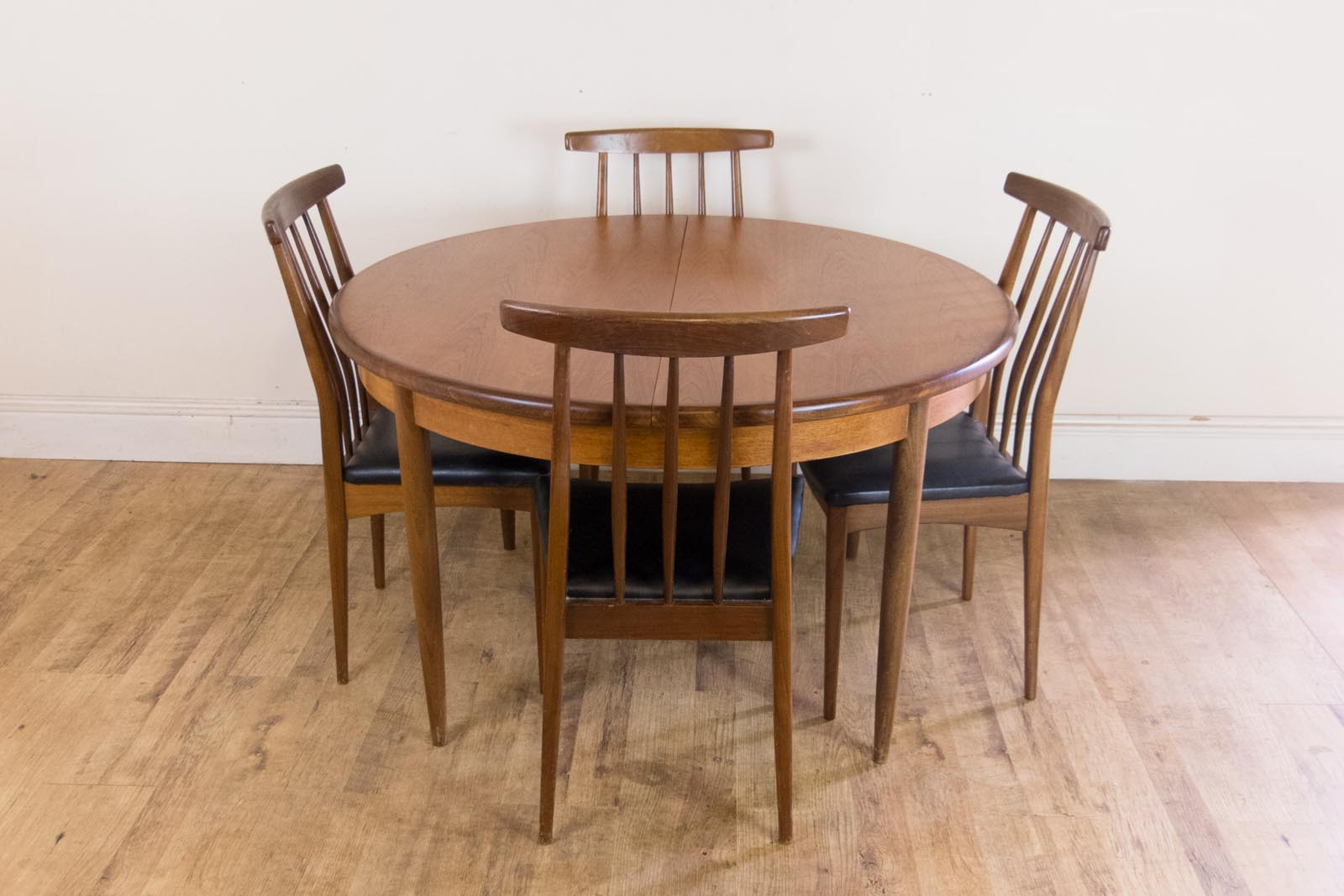 Vintage retro g plan teak extendably dining table and 4 for G plan dining room furniture