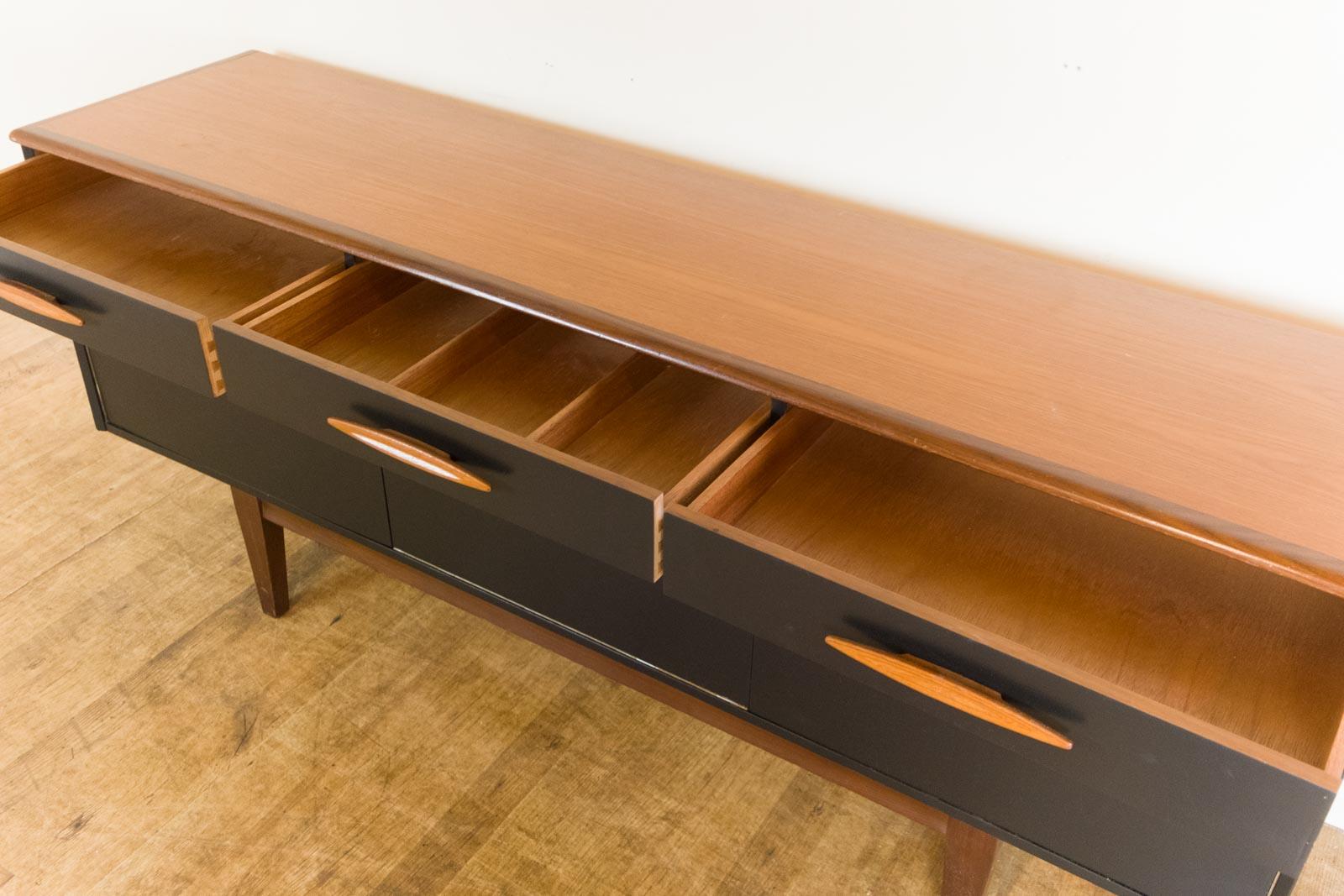 Vintage Retro Black and Teak Upcycled Painted Sideboard 1970s eBay